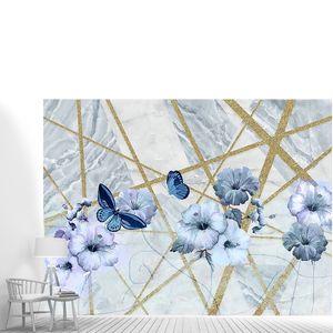 Синий мрамор, золотые полосы и голубые цветы
