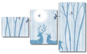 Голубые олени на полосатом фоне