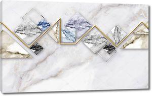 Мраморный фон, золотистая ломаная линия