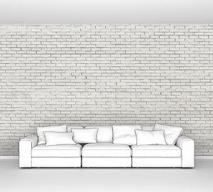 Белая кирпичная стена для фона или текстуры
