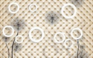 Обивка, белые кольца, большие серые контуры одуванчиков