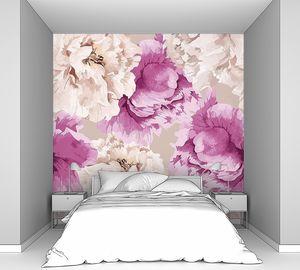 Цветочный узор с розовыми пионами