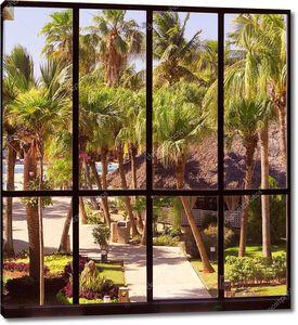 Вид тропический сад через панорамное окно