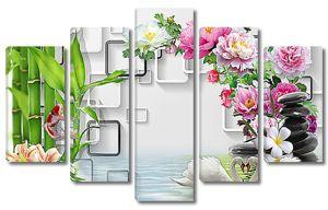 Лилии, бамбук и лебеди