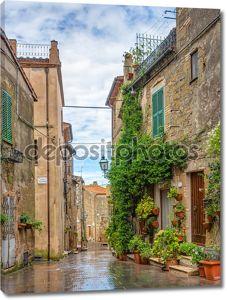 переулок в старом городе Питиглиано Тоскана Италия