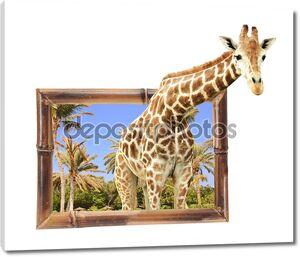 Giraffe in bamboo frame with 3d effect