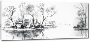 Дома на реке карандашом