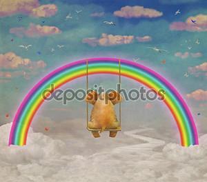 Грустно слон сидя на качелях в небе, Иллюстрация искусства