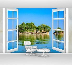 Вид из окна на остров в океане