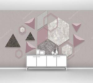 Ромбы, треугольники и шестиугольники розового и серого