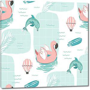 Фламинго с дельфинами