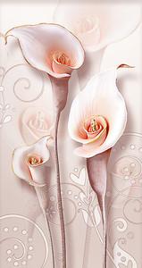 Розовые каллы с золотым ободком