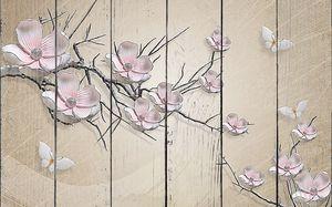 Ветка сакуры на бежевом фоне