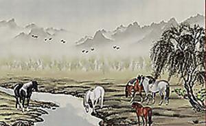 Лошади пасутся на реке