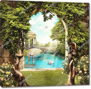 Вид из арки старого сада в парк с лебедями