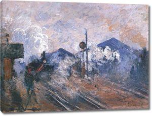 Моне Клод. Вокзал сен-Лазар, рельсовый путь, 1877