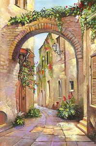 Живописная улочка с цветами