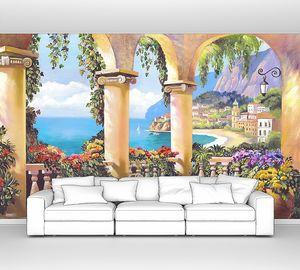 Терраса с колоннами и множеством цветов