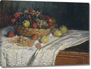 Моне Клод. Фруктовая корзина с яблоками и виноградом, 1879