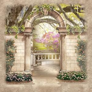 Вид через арку на сад
