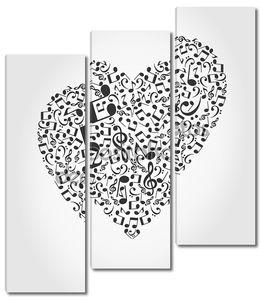 Сердце, собранные из музыкальных нот.