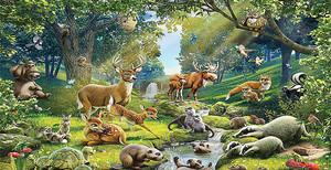 Лесные звери у реки