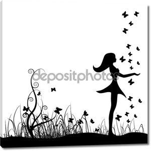 красивая девушка на лугу, бабочки