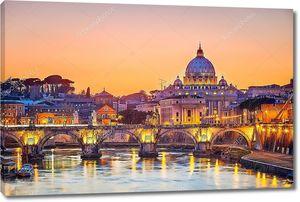 Ночной вид на Собор Петра в Риме