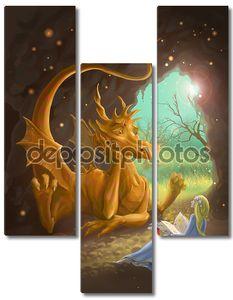 Дракон и принцесса, читая книгу