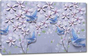 Голубые голуби в цветках сирени