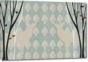 Орнамент из фигур деревьев с оленями