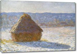 Моне Клод. Стог сена утром, эффект снега, 1891