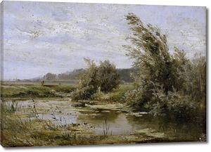 Аэс Карлос де. Пейзаж с прудом
