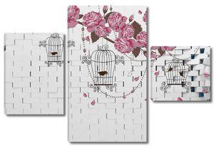 Кирпичная стена, темные цветы на ветке, птиц в клетках