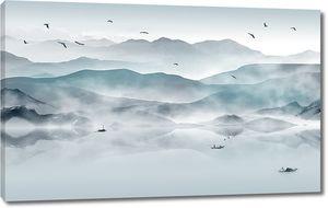 Туман над большим озером