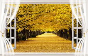 Золотая аллея из окна