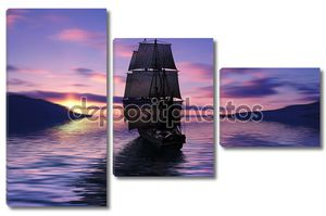 Парусный корабль на закате солнца
