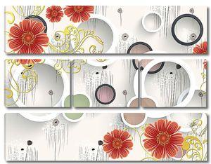 Разноцветные круги с цветами
