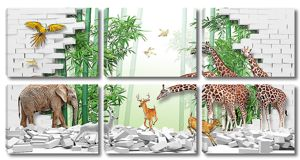 Животные у разрушенной стены