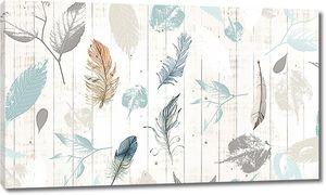 Листья и перья нарисованные на заборе