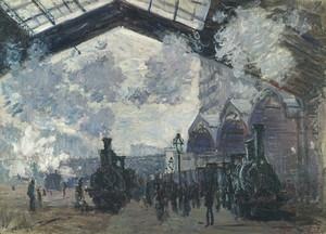 Моне Клод. Вокзал Сен-Лазар, Снаружи, 1877