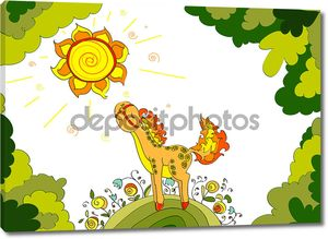 Красный конь с ромашками, ходить на летнем лугу цветок