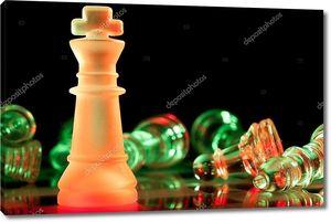 Красные и зеленые стекла шахматные фигуры