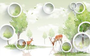 Пятнистые олени с кругами