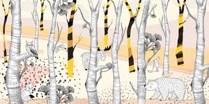 Woodland-рисованные звери в желтом лесу