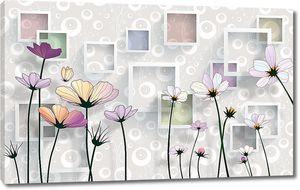 Веселенькая композиция из цветов и квадратов