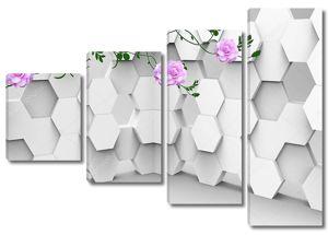 Шестиугольники, большие розовые цветы