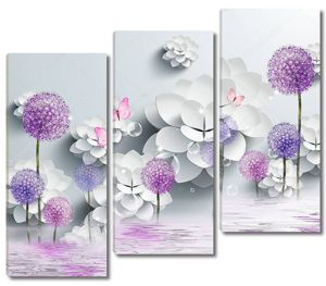 Цветные одуванчики, две розовые бабочки, отражение в воде