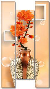 Цветок в золоченой вазе