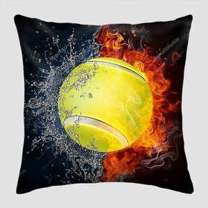 Теннисный мяч в огне с водой